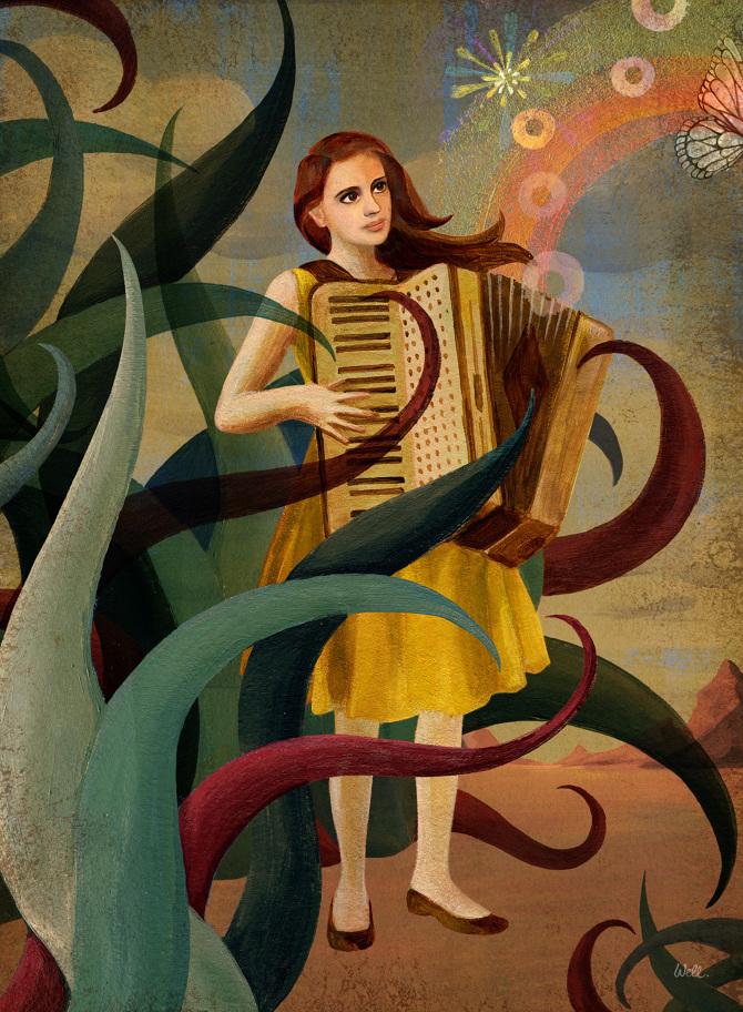 Lebensmut Frau mit Ziehharmonika klein